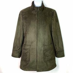 Calvin Klein Women's Faux Suede Green Coat Small